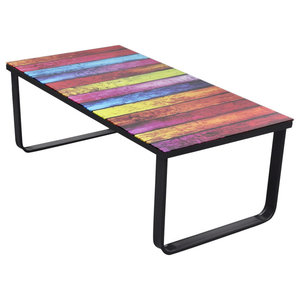 VidaXL Rectangular Coffee Table, Print on Glass, Rainbow