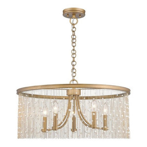 Golden Lighting 1771-5 PG-CRY Marilyn Chandelier, Peruvian Gold