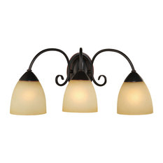 Oil Rubbed Bronze 3 Light Bathroom Vanity Wall Fixture