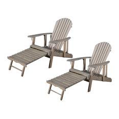 GDFStudio   Katherine Outdoor Reclining Wood Adirondack Chairs, Set Of 2,  Gray   Adirondack