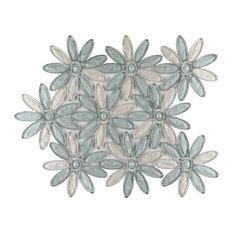 "12""x12"" Floral Fusion Imagination Mosaic, Set Of 4, Citrifolia"