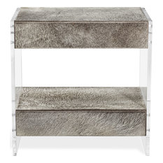 Aiden Bedside Chest - Natural Gray Clear Shiny Silver