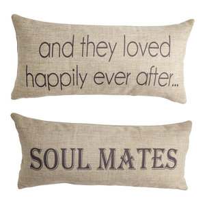 Soulmates Happily Ever After Anniversary Wedding Gift Double Sided Quote Pillow