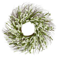 "22"" Lavender Wreath on Twig Base, White"