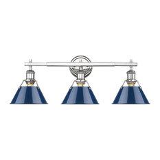 Orwell CH 3-Light Bath Vanity, Chrome With Navy Blue Shades