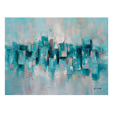 """""""Abstract Turquoise Lake"""" Hand Painted Canvas Artwork; Fine Art; Modern"""