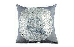 "Silver Decorative Euro shams 26""x26"" Silk, Silver Circles"