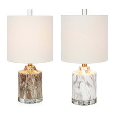 Faux Marble Mini Lamps W Drum Shape Linen Shade, White and Brown,Assortment of 2