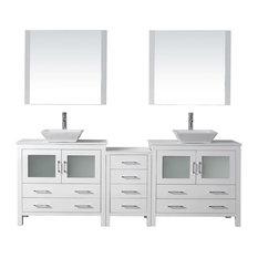 """Dior 90"""" Double Bathroom Vanity Cabinet Set, White"""