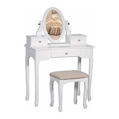 Vanity Set with Stool Dressing Make-Up Table with 3 Drawers and Mirror