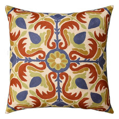 Medallion Floral  Elements Decorative Pillow Cover Handembroidered Wool 20x20""