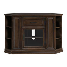 Leick Home Buffed Pecan 32 High Corner Tv Console With Bookcase Ends Entertainment