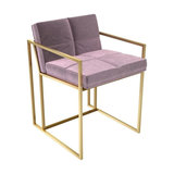 Federico Dining Chair, Blush Velvet, Brass Frame