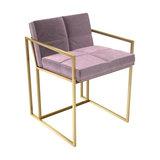 Federico Dining Chair, Blush Velvet, Brass Frame