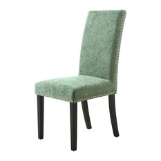Olive Green Chenille Stud Detail Dining Chairs, Set of 2, Black