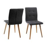 Fridi Dining Chair, Dark Grey Fabric, Set of 2