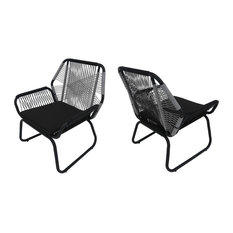 GDF Studio Lydia Outdoor Wicker Club Chair, Gray/White/Gray, Set of 2