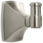 Amerock - Robe Hook, Satin Nickel - The Amerock BH26502G10 Clarendon Robe Hook is finished in Satin Nickel. An updated twist on traditional aesthetics inspires this sculpted collection. Featuring an artful design with smooth structural transitions, Clarendon effortlessly coordinates with Amerock's Candler and Extensity decorative cabinet hardware collections, transforming any bath into a relaxing spa. The classic Satin Nickel finish provides a sleek, lightly brushed, warm grey metallic look. Amerock markets decorative hardware solutions that inspire, coordinate and help express personal style. For the kitchen, bathroom and the rest of the home, with a variety of finishes and designs for all decorating tastes, Amerock is the ultimate, time-tested source for hardware needs. Amerock markets products in four categories: decorative hardware, decorative hooks, bath accessories and functional hardware.