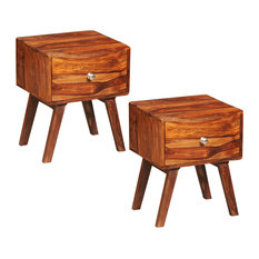 VidaXL Set of 2 Sheesham Wood Bedside Tables Vintage Retro