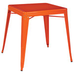 OSP Home Furnishings - Paterson Metal Table, Orange - Made without any fabric, the colorful OSP Designs Patterson Metal Table would be perfect on a patio, in a stylish garage or any industrial home. The compact design and four bold color options make this not only gender neutral, but an extremely versatile addition to a space. The scratch free rubber buffers on the underside of the four legs will help keep your floors in pristine condition so you can keep collecting complements on your table for years to come.