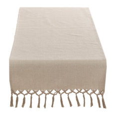 Fennco Styles   Contemporary Knotted Tassel Natural Cotton Table Runner   Table  Runners