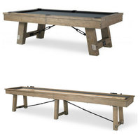 Isaac 8' Pool Table and 12' Shuffleboard Combo Package by Plank and Hide
