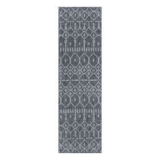 Evka Contemporary Geometric Charcoal Runner Rug, 2'x7'