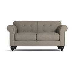 "Pico Tufted Back Apartment Size Sofa, Taupe, 64""x37""x33"""