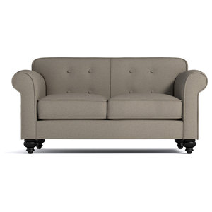 "Pico Tufted Back Apartment Size Sofa, Taupe, 64""x37""x33"""