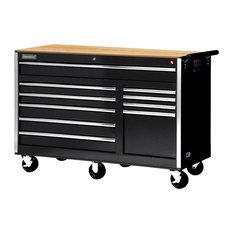 "56"" 10-Drawer deep Tool Cabinet With Hardwood Top, Black"