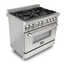 Gas Burner/Electric Oven Range, Stainless Steel, 36""