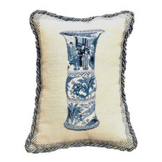 """Handmade Needlepoint Pettipoint Blue White Chinese """"Court Scenes"""" Jar Pillow"""