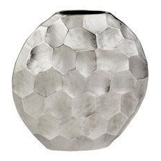 Facetado Round Silver Vase