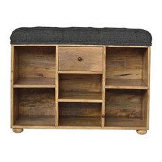 Furniture Shoe Storage Bench With Upholstered Black Tweed Seat Oak Finish Mango Wood
