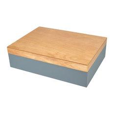 """Wood Box, Gray, Natural, 11.5"""""""