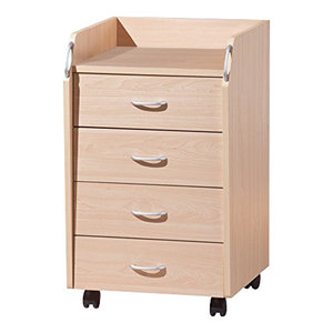 Modern Chest of Drawers in Maple Finished Wood with 4 Drawers on Metal Rails