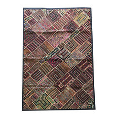 Mogul Artisan Wall Tapestry Kutch Embroidered Patchwork Bohemian Sofa Throw