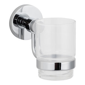Wall Mounted Polished Chrome Toothbrush Holder Clear Glass Tumbler Cup Holder