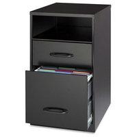 Black Metal 2-Drawer Filing Cabinet With Office Storage Shelf