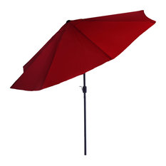 Pure Garden 10' Aluminum Patio Umbrella With Auto Tilt, Red