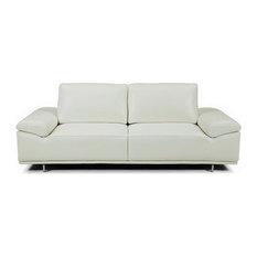 Bellini Modern Living   Roxanne Loveseat, Light Gray, Adjustable Back And  Arm Cushions