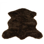 """Walk on Me - Classic Brown Bear Pelt Faux Fur Rug, 56""""x79"""" - Charmingly rustic, distinctly elegant - deep, rich, deliciously inviting color and texture - darkest brown - machine washable, hypoallergenic, non-slip - long pile - 80% acrylic 20% polyester"""