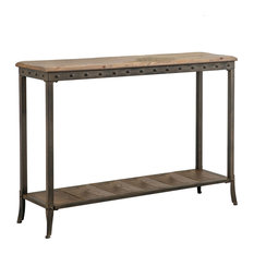 Inspire At Home Console Table In Distressed Pine With Metal Base Tables
