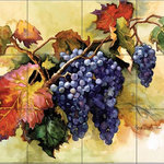 The Tile Mural Store - 24 Tile Ceramic Tile Mural, Grapes Ready for Harvest, by Erin Dertner - Since 2001, The Tile Mural Store has offered the fastest service and the highest quality tile murals available. We use the leading USA brand tile body which makes it easy to find the field tiles to complete your project from your local tile store or home improvement warehouse. Our vast selection of artwork is incomparable to all others.  Our tiles can be used on ANY indoor wall surface, even messy places like behind your cook top or sink and in wet/steamy environments like your shower/tub surround wall.  You can even install our tile murals over existing tile to liven up a plain tile wall.