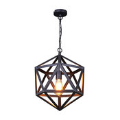 LN Small Industrial Style Matte Black Iron Cage Pendant Light