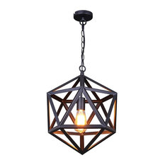 Lamps Next   LN Small Size Industrial Style Matte Black Iron Cage Pendant  Light   Pendant