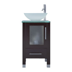 "17.75"" Soft Focus Small Vessel Sink Modern Contemporary Bathroom Vanity Cabinet"