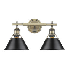 Orwell 2-Light Bath Vanity, Aged Brass With Black Shade