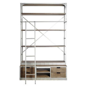 Yeva Steel and Wood Bookcase With Ladder