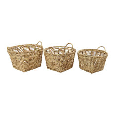 Large Square Hand-Woven Water Hyacinth Wicker Baskets, Set of 3